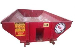 Red roll off container for 6 Yard Dumpster Rental
