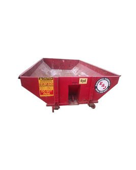 Front view of red 6 Yard Dumpster Rental