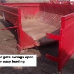 Photo of red 10 yard dumpster for rental