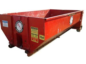 Red roll off container for 10 Yard Dumpster Rental