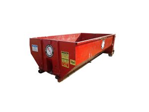 Side view of red 10 yard dumpster rental