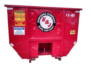 Red roll off container for 15 Yard Dumpster Rental