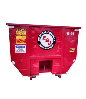 Front view of red 15 yard dumpster rental