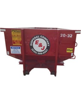 Front view of red 20 yard dumpster rental