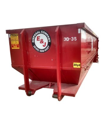 Side view of red 30 yard dumpster rental