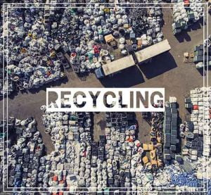 Drone view of waste disposal facility and recycling area