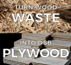 Before and after of wood waste to plywood